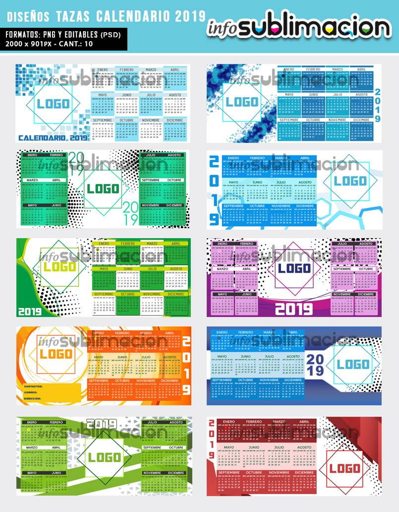 diseños tazas calendario 2019 empresarial