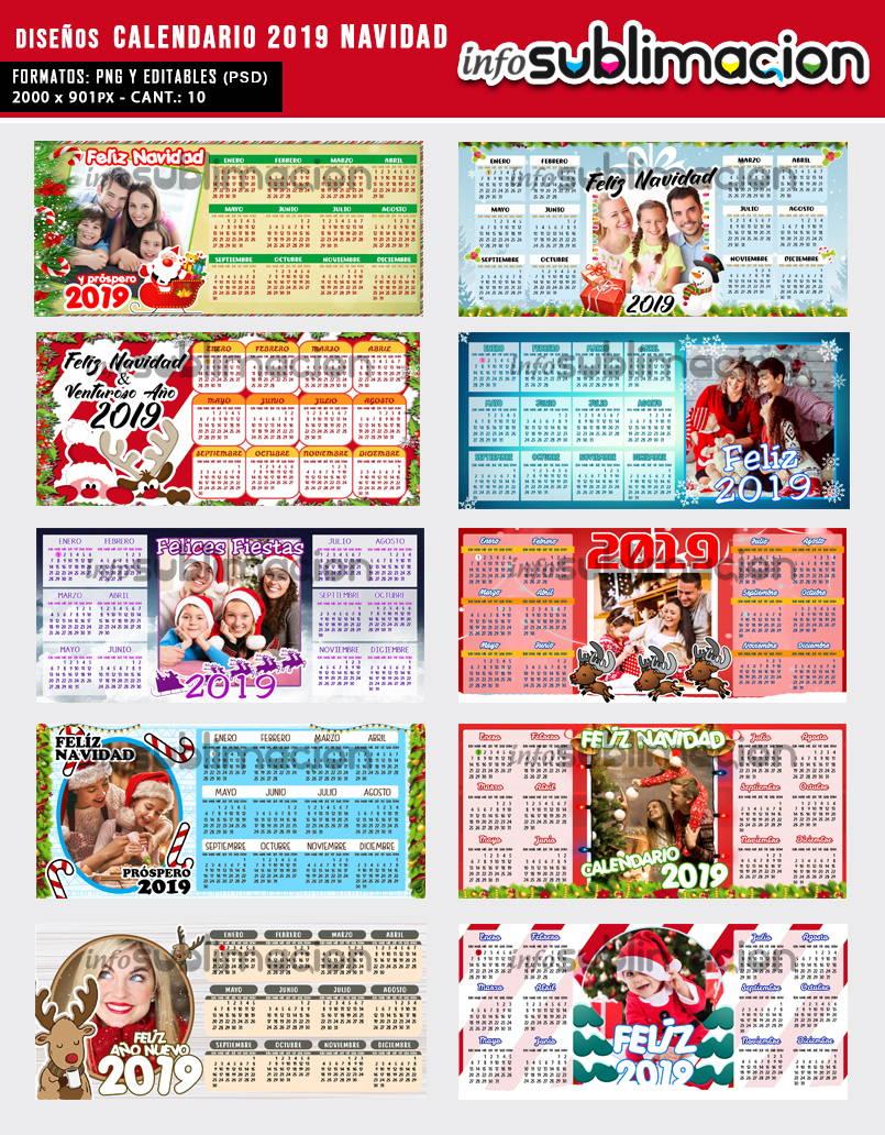 diseños tazas calendario 2019 navidad