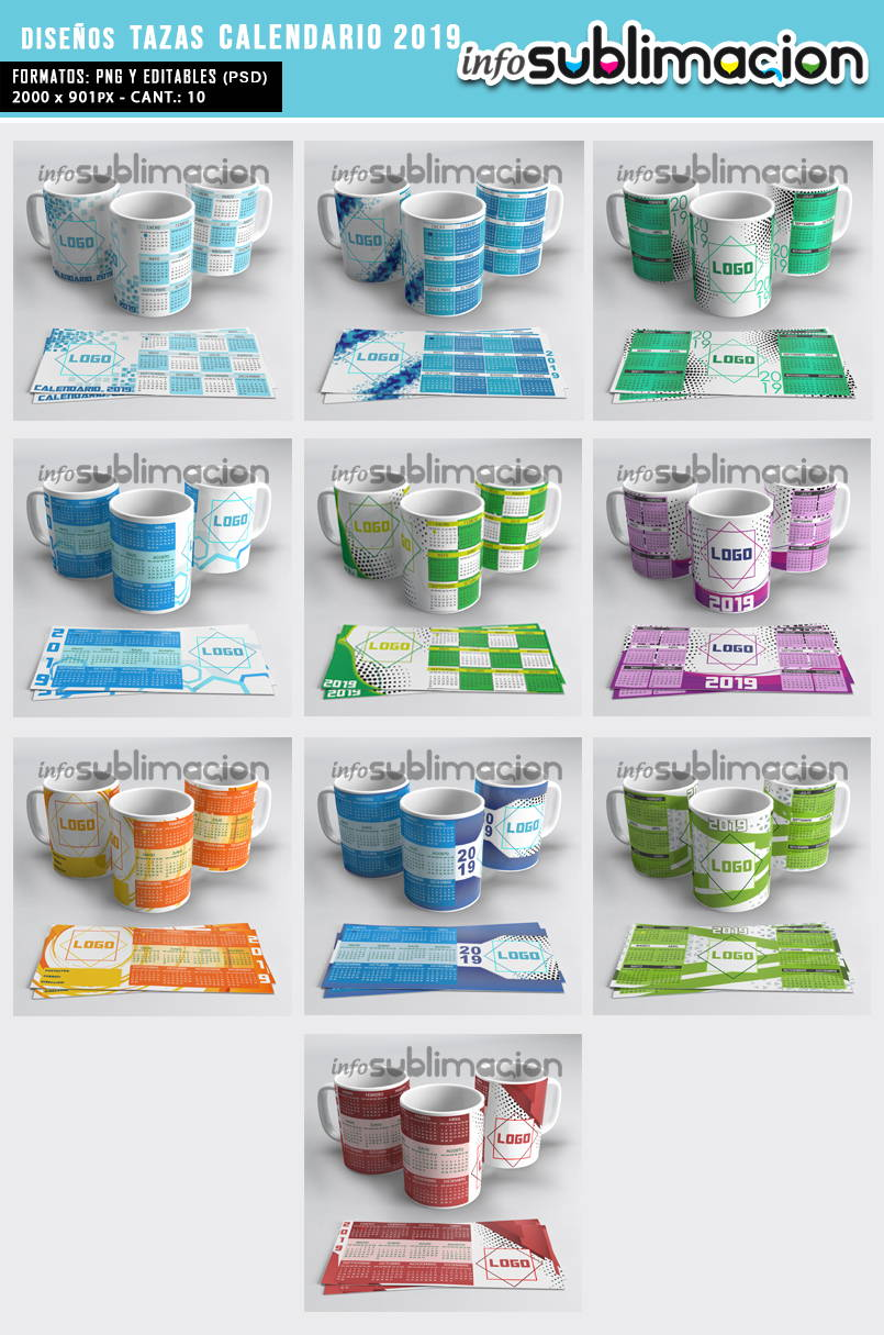 muestrario plantillas para tazas calendario 2019 empresarial