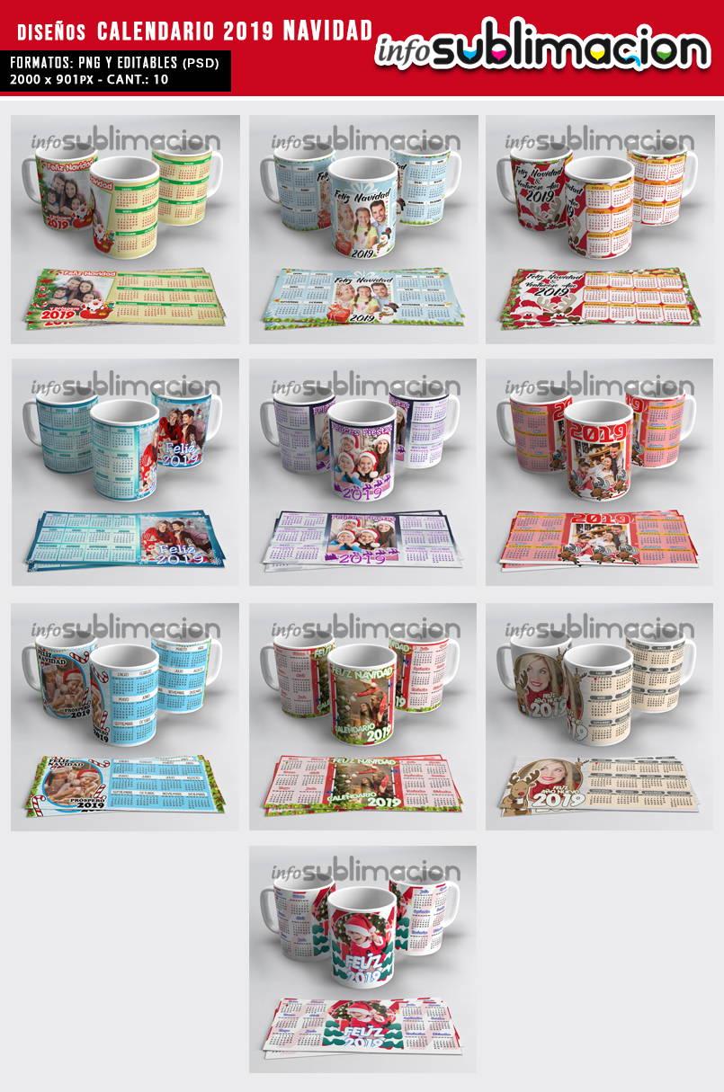 muestrario plantillas para tazas calendario 2019 navidad