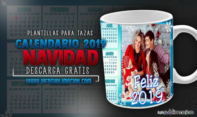 plantillas para sublimar tazas calendario 2019 navidad