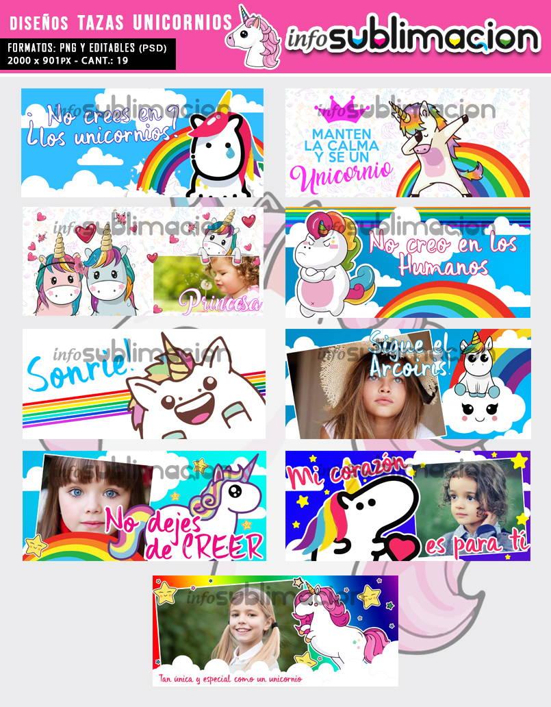 diseños para sublimar tazas de unicornios