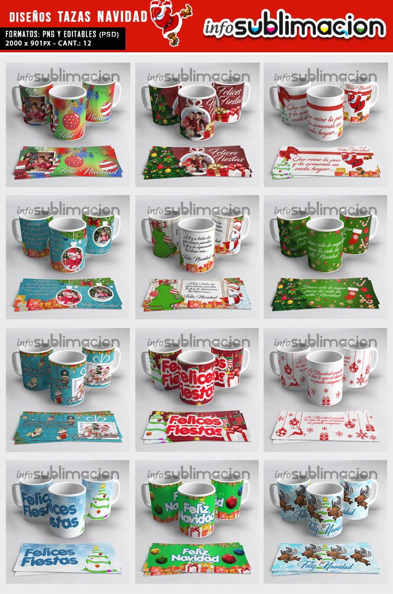 muestrario plantillas para tazas navidad