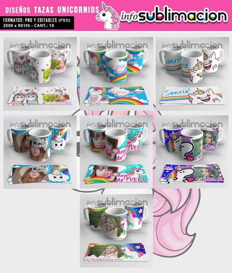 plantillas tazas unicornios 3d
