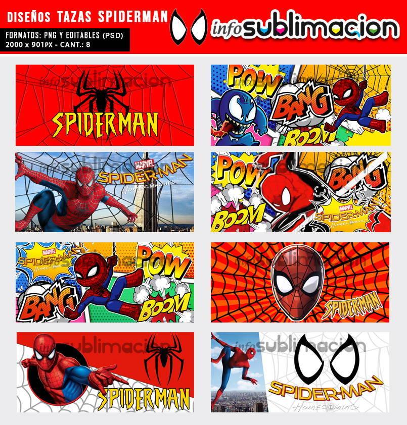 diseños tazas spiderman