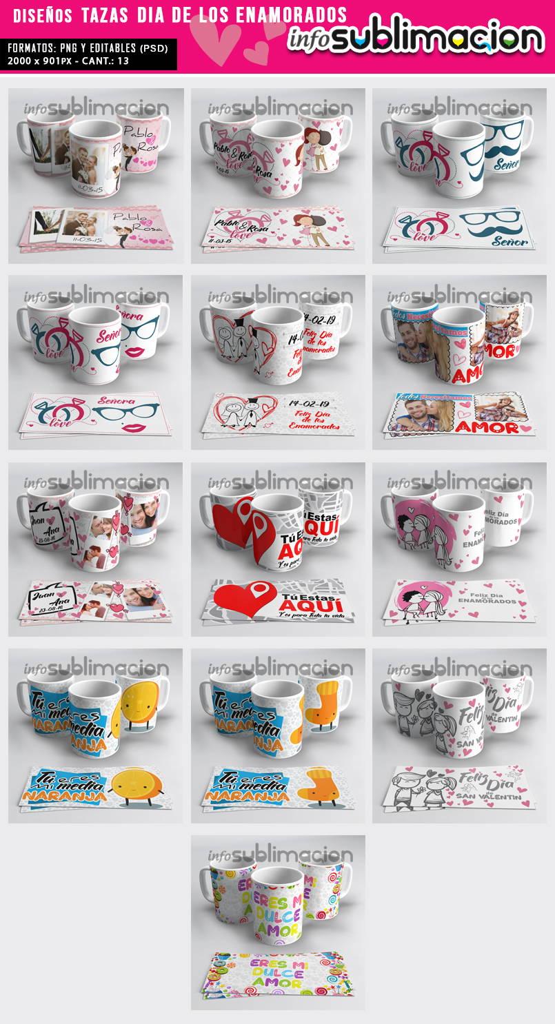 muestrario plantillas para tazas dia de los enamorados