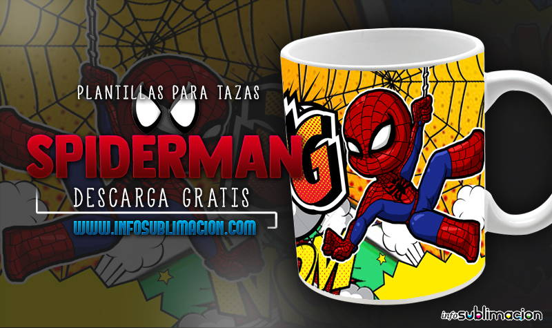plantillas para sublimar tazas spiderman