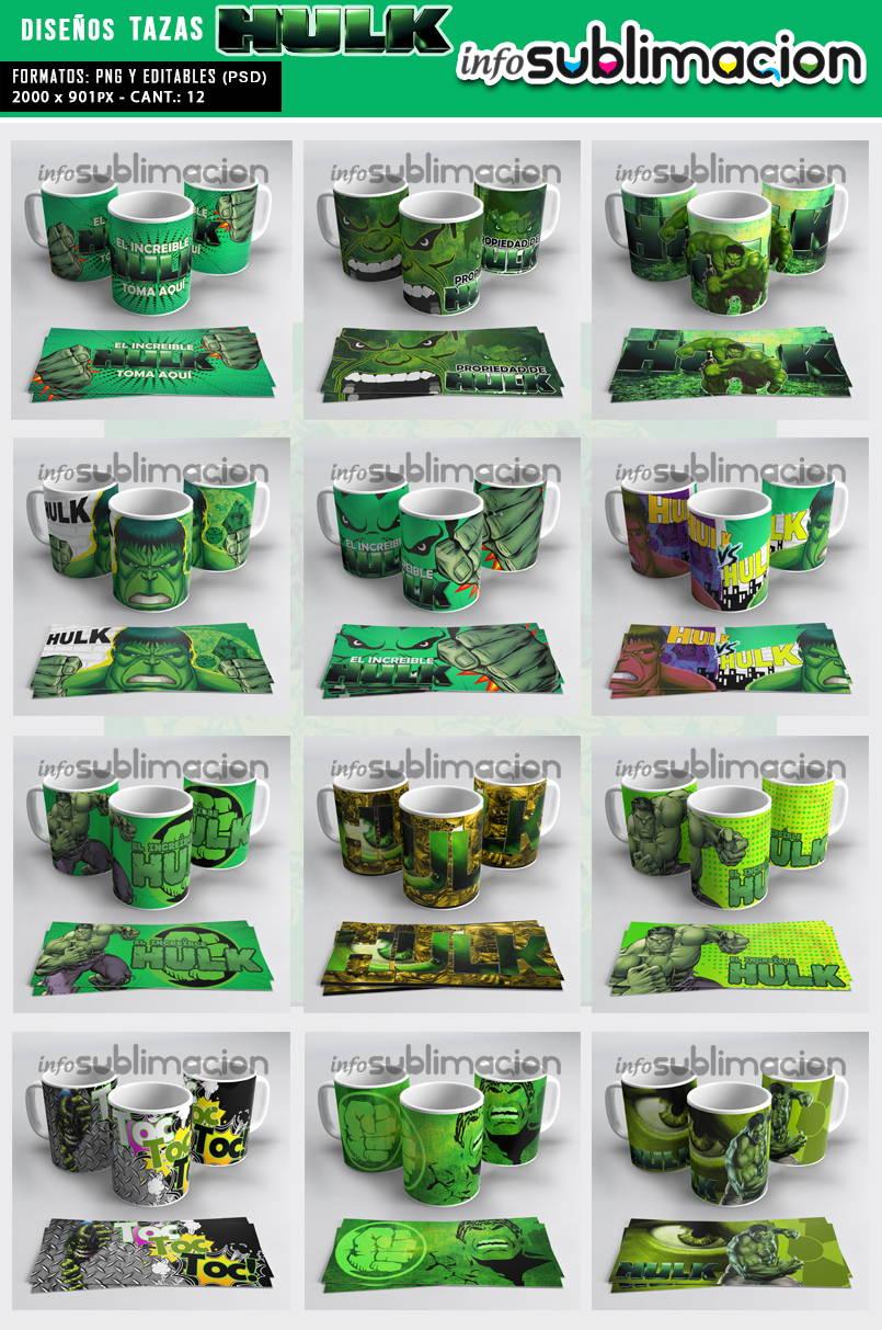 muestrario plantillas para tazas hulk
