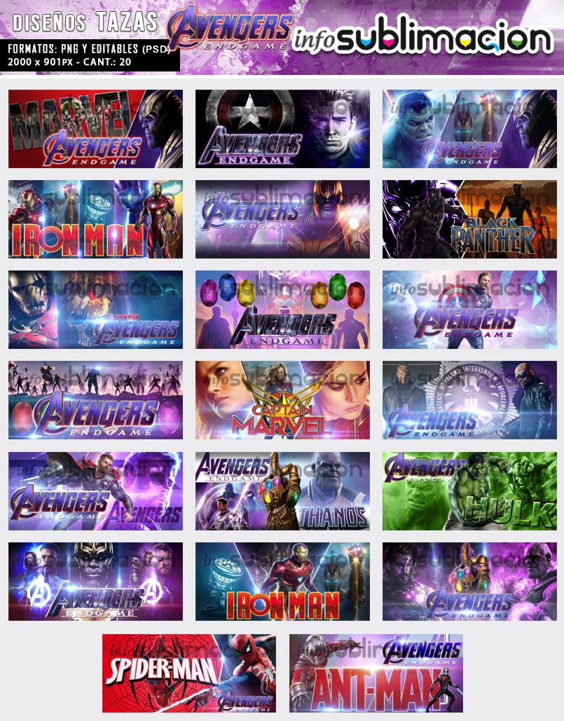 diseños tazas avengers end game