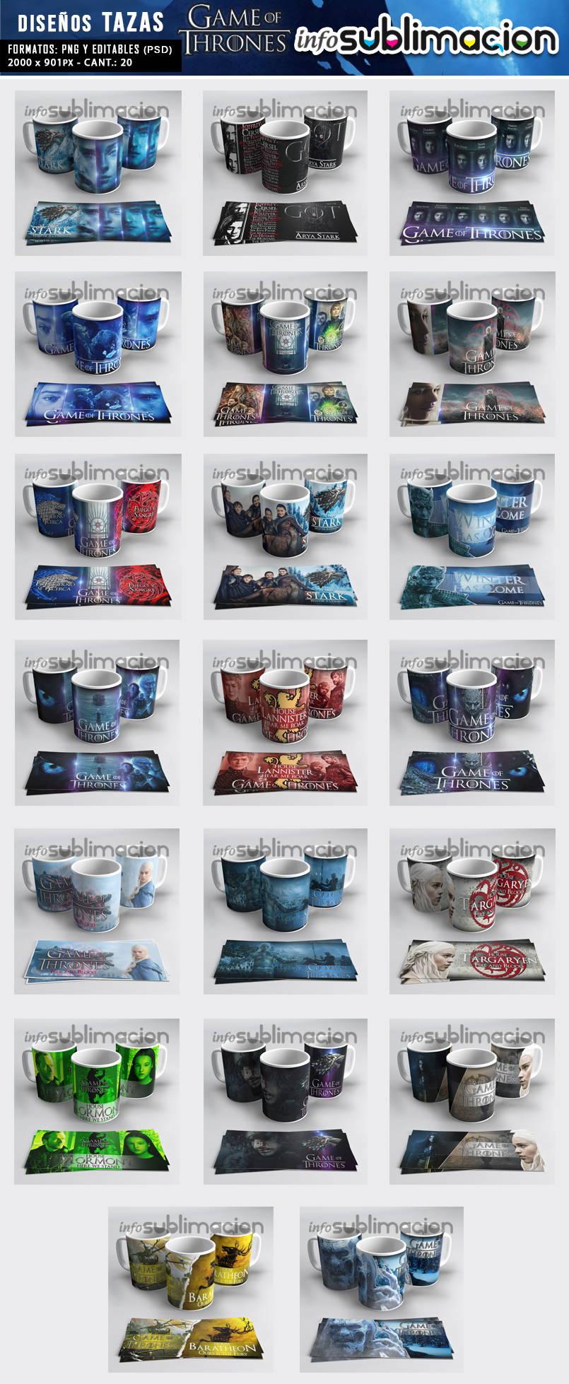 muestrario plantillas para tazas game of thrones