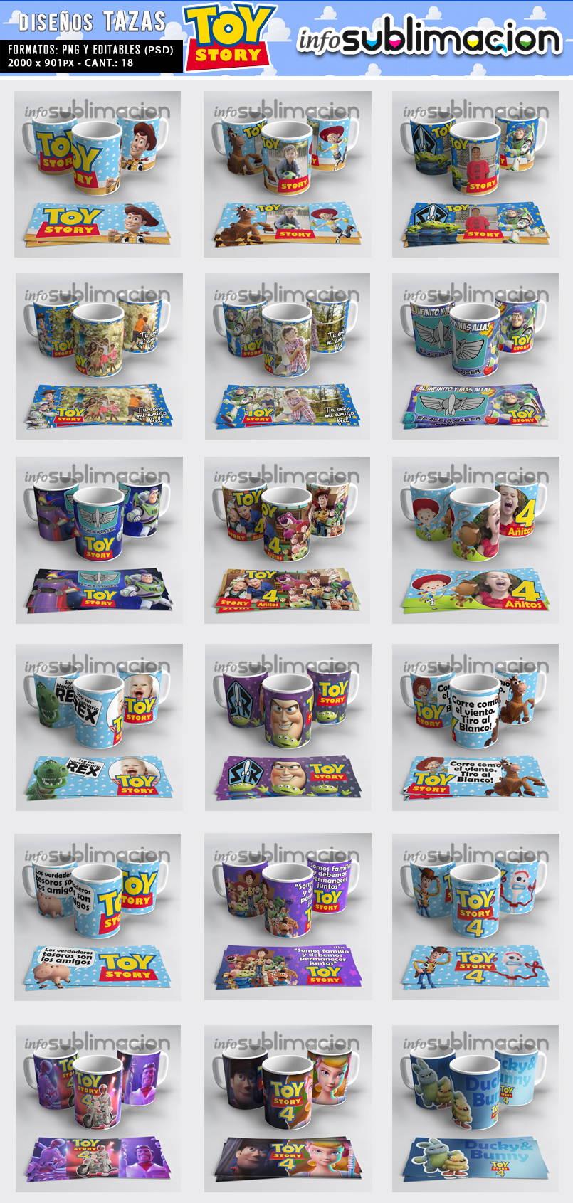muestrario plantillas para tazas toy story