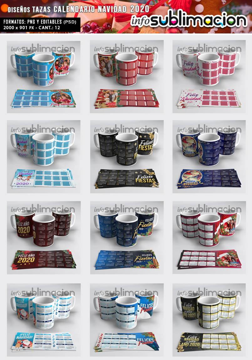 muestrario plantillas para tazas calendario 2020 navidad