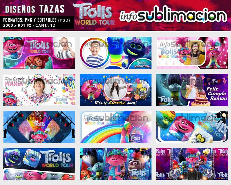 diseños para tazas de trolls world tour