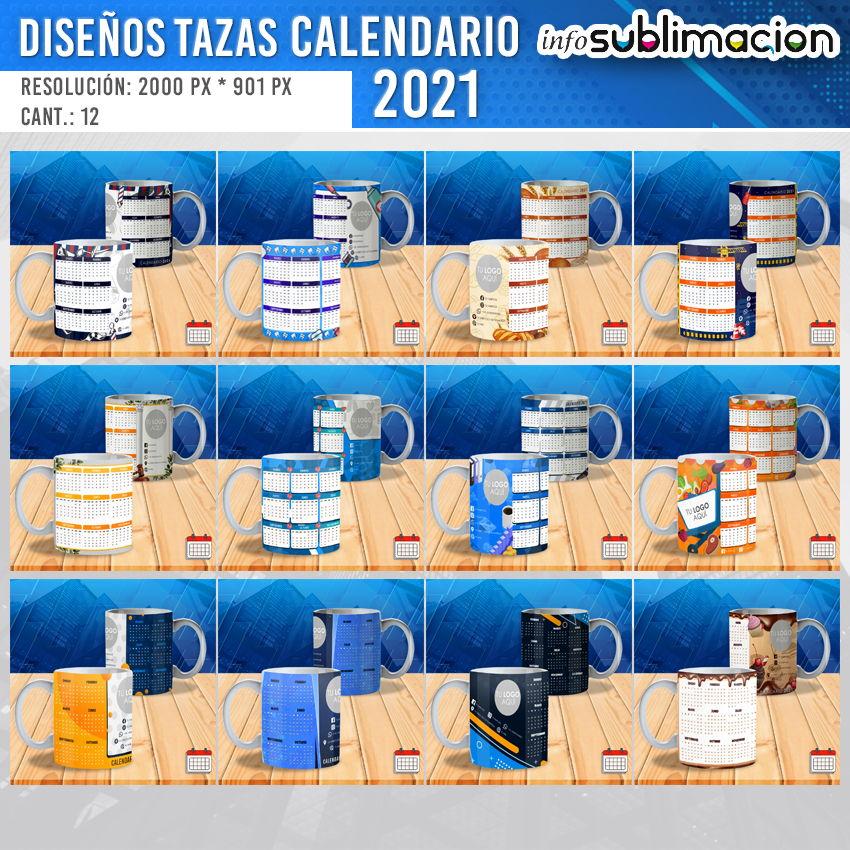 plantillas calendario empresarial 2021 para tazas