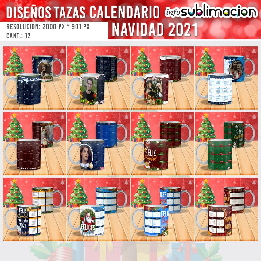 diseños para tazas de calendario 2021 navidad